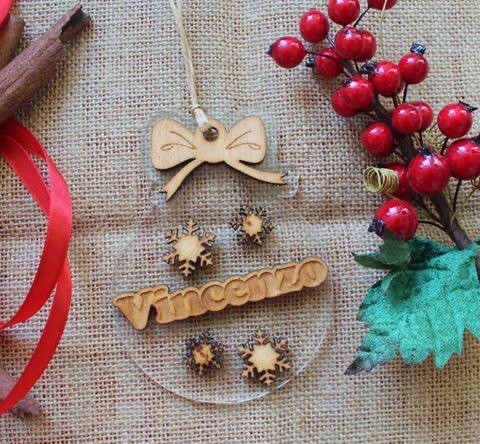 Pallina Natale Plex e Legno